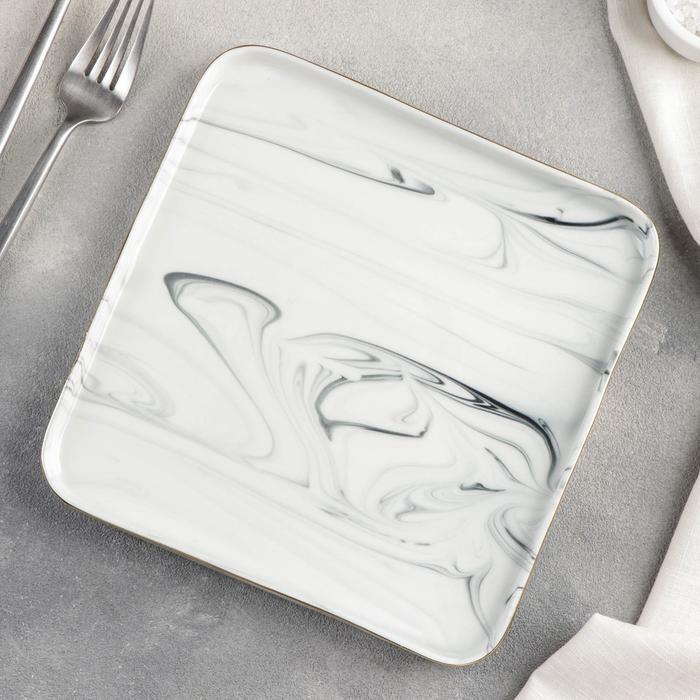 """Тарелка квадратная """"Мрамор"""" 20х2 см, цвет серый - фото 58313202"""