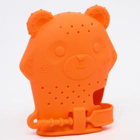 Прорезыватель рукавичка «Мишка», силиконовый, цвет оранжевый