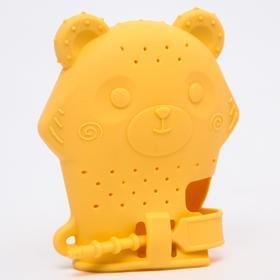 Прорезыватель рукавичка «Мишка», силиконовый, цвет желтый