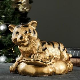 "Копилка ""Тигр на монетах"" бронза, 24х17х17,5см"