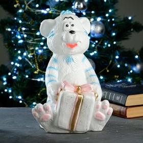 "Копилка ""Тигр с подарком"" бело-голубой, 24х23х34см"