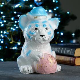 """Копилка """"Тигр - Дед Мороз"""" бело-голубой, 17х16х23см"""
