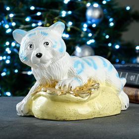 "Копилка ""Тигр на монетах"" бело-голубой, 24х17х17,5см"