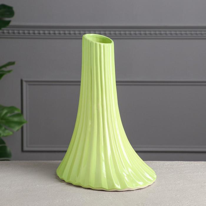 """Ваза настольная """"Секвойя"""", зелёная, керамика, 30 см - фото 992158"""