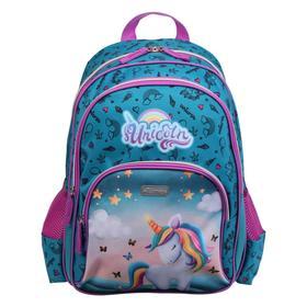 Рюкзак школьный эргономичная спинка, Attomex Basic 38 х 32 х 18, Unicorn, голубой/фиолетовый