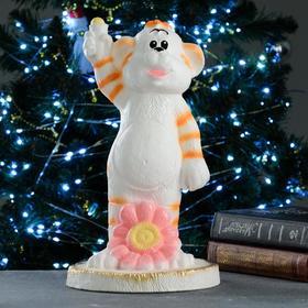 """Копилка """"Тигр с ромашкой"""" бело-рыжий, 18,5х18,5х32см"""