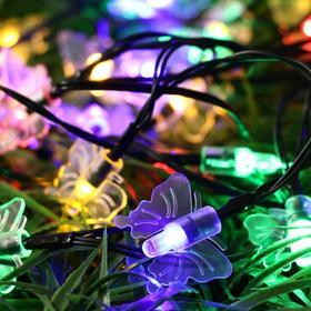 """НИТЬ, уличная на солнечной батарее с насад. """"Старт"""", """"Бабочки"""", 5.4 м, Н.С. LED-35, МУЛЬТИ"""