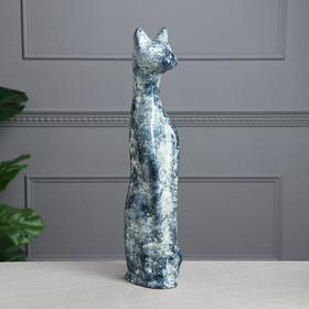 """Копилка """"Кот"""", под мрамор, синяя, керамика, 48 см"""