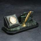 Визитница «Змеевик»: подставка для ручек, часы