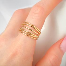 """Кольцо """"Звенья"""" тонкая линия, цвет золото, безразмерное"""