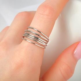 """Кольцо """"Звенья"""" тонкая линия, цвет серебро, безразмерное"""