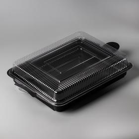 Тортница прямоугольная, 40,5x 27,7x7,2 см, крышка прозрачная, дно черное
