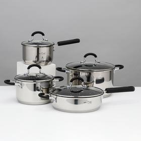 Набор посуды, 4 предмета: кастрюли d=18 см, d=24 см, ковш d=16 см, сковорода d=24 см, индукция, антипригарное покрытие
