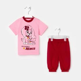Комплект для девочки, цвет розовый, рост 74 см