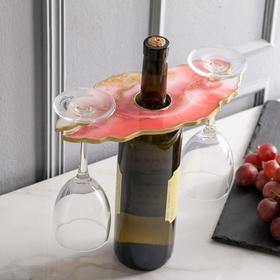 Подставка для вина и бокалов «Розовый закат», 25 х 0,6х 13 см