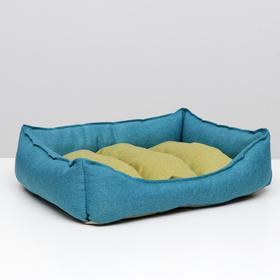 """Лежанка мягкая """"Софа"""", мебельная ткань, 60 х 50 х 19 см, жёлто-синяя"""