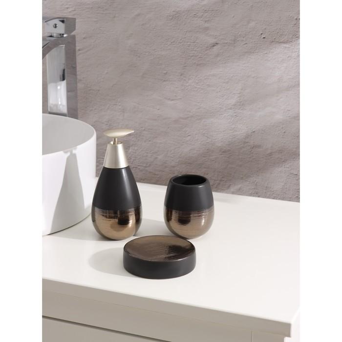 Набор для ванной комнаты Доляна «Клеопатра», 3 предмета (мыльница, дозатор для мыла, стакан), цвет чёрно-золотой