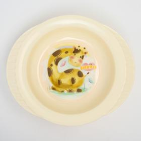 Тарелка детская на присоске Giraffix, цвет МИКС