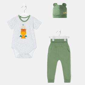 Комплект детский, цвет белый/светло-хаки, рост 74-80 см