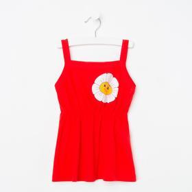 Майка для девочки, цвет красный, рост 116 см