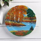 """The plate under the porcelain with stone chips """"four seasons"""""""