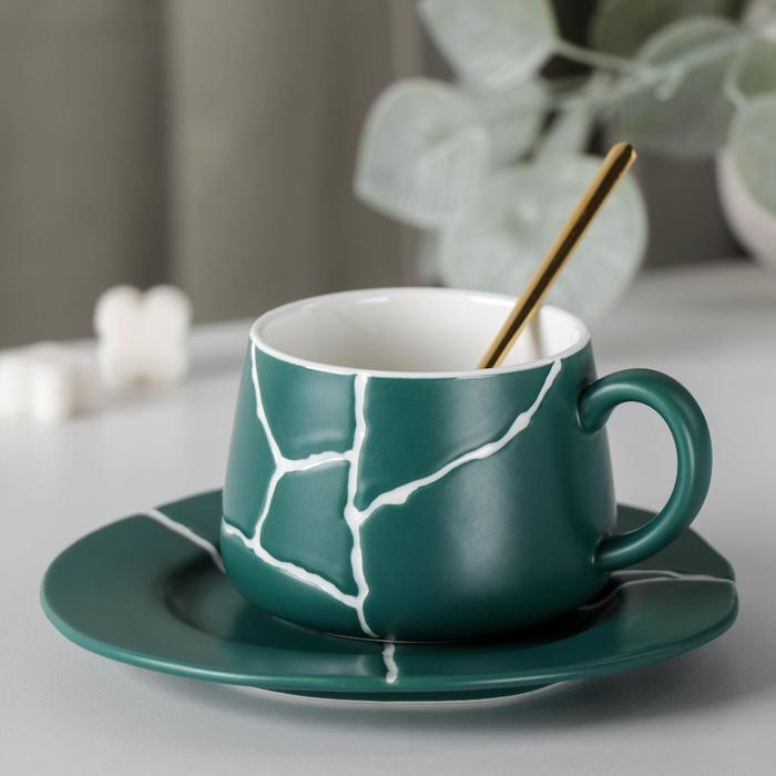Чайная пара «Кракле», чашка 250 мл, блюдце, ложка, цвет зеленый - фото 1000644