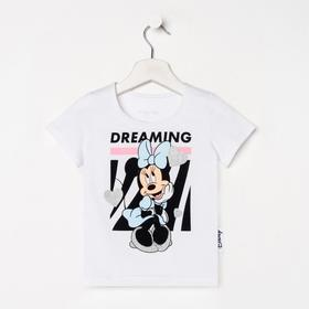 "Футболка детская ""Dreaming"" Минни Маус, рост 110-116, белый"