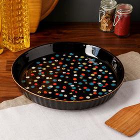"""Форма для выпечки """"Круг"""", черный цвет, керамика, 26 см"""