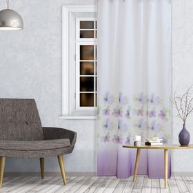 Штора вуаль С 9219 W191 150х260 см, белый-фиолетовый, пэ 100%