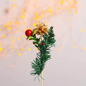 Новогодний декор «Золотая шишка на веточке»