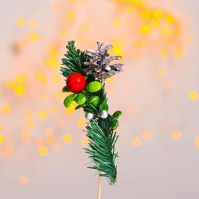 Новогодний декор «Серебряная шишка на веточке»
