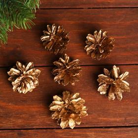 Новогодний декор «Набор золотых шишек» 6 шт.