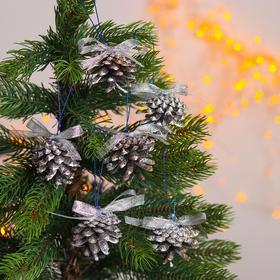 Новогодний декор «Праздничный наборчик с лентой» серебряный