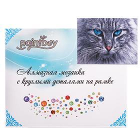 Алмазная мозаика с подрамником, полное заполнение «Кот с голубыми глазами» 40×50 см