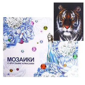 Алмазная мозаика с подрамником, полное заполнение «Тигр в темноте» 40×50 см
