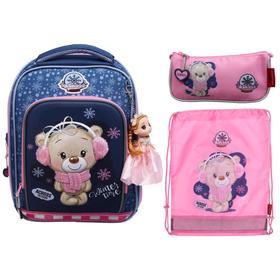 Рюкзак каркасный Across HK 35*29*15 наполн:мешок,пенал,брел, дев, син/роз HK2021-5