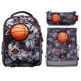 "Рюкзак каркасный Across 490 39*29*17 наполн:мешок,пенал,брел, мал ""Баскетбол"", чер/сер/ор"