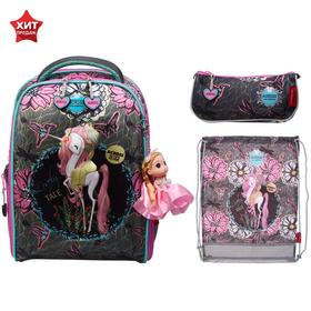 Рюкзак каркасный, Across 490, 39*29*17 см, с наполнением: мешок для обуви, пенал, брелок, «Принцесса»