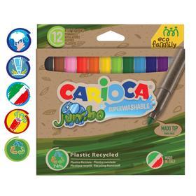 """Фломастеры 12 цветов Carioca """"Jumbo. EcoFamily"""" утолщенные, смываемые, картон, с заботой о природе, европодвес"""
