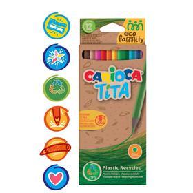 """Карандаши пластиковые 12 цветов Carioca """"Tita. EcoFamily"""" заточенные, картон, европодвес"""