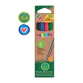 """Набор ручек шариковых Carioca """"EcoFamily"""", 1.0 мм, 4 цвета, 4 штуки, картон, европодвес, микс"""