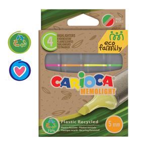 """Набор маркеров текстовыделителей 4 цвета, 1-5 мм, Carioca """"EcoFamily"""", картон, с заботой о природе, европодвес"""