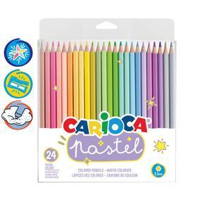 """Карандаши 24 цвета Carioca """"Pastel"""", пастельная палитра, 3.3 мм, шестигранные, деревянные, блистер, европодвес"""