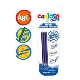 """Набор стержней для гелевой стираемой ручки Carioca """"OOPS"""", чернила синие, 3 штуки, 111 мм, 0,7 мм, блистер"""