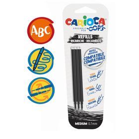 """Набор стержней для гелевой стираемой ручки Carioca """"OOPS"""", чернила черные, 3 штуки, 111 мм, 0,7 мм, блистер"""