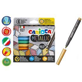 """Фломастер 6 цветов Carioca """"Metallic MaxiMarkers"""" металлизированные, утолщенная линия, картон, европодвес"""