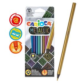 """Карандаши 12 цветов Carioca """"Metallic"""", металлизированные, шестигранные, деревянные, грифель 3,3 мм, европодвес"""