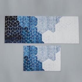 Набор ковриков для ванны и туалета Доляна «Галилео», 2 шт: 45×120, 40×60 см, цвет синий