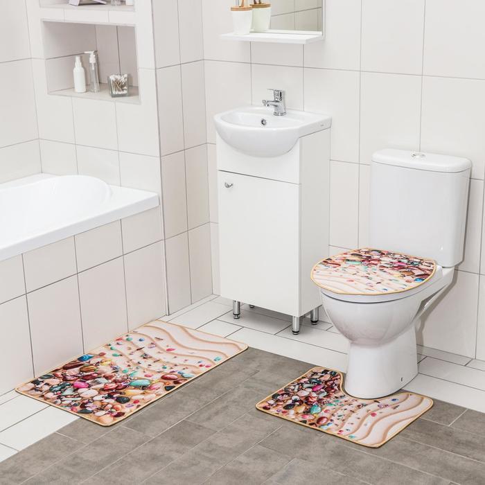 Набор ковриков для ванны и туалета Доляна «Ракушки», 3 шт: 50×80, 50×40, 40×43 см