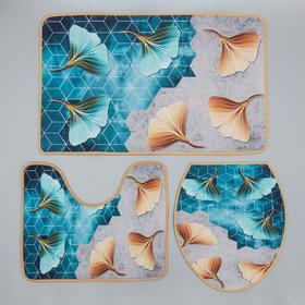 Набор ковриков для ванны и туалета Доляна «Листья», 3 шт: 50×80, 50×40, 40×43 см